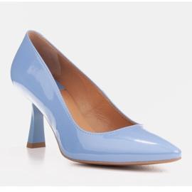 Marco Shoes Eleganckie czółenka z błękitnego lakieru niebieskie 3