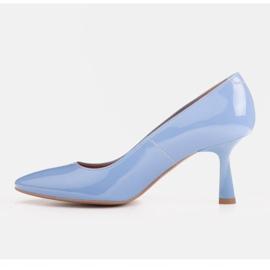Marco Shoes Eleganckie czółenka z błękitnego lakieru niebieskie 4