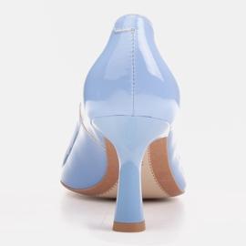 Marco Shoes Eleganckie czółenka z błękitnego lakieru niebieskie 6
