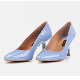 Marco Shoes Eleganckie czółenka z błękitnego lakieru niebieskie 5