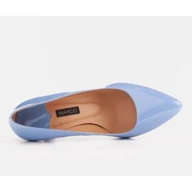 Marco Shoes Eleganckie czółenka z błękitnego lakieru niebieskie 8