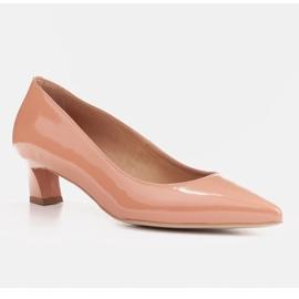Marco Shoes Eleganckie czółenka na niskim obcasie pomarańczowe 1
