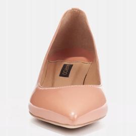 Marco Shoes Eleganckie czółenka na niskim obcasie pomarańczowe 2