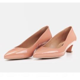 Marco Shoes Eleganckie czółenka na niskim obcasie pomarańczowe 3