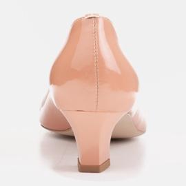 Marco Shoes Eleganckie czółenka na niskim obcasie pomarańczowe 4