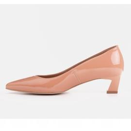Marco Shoes Eleganckie czółenka na niskim obcasie pomarańczowe 5