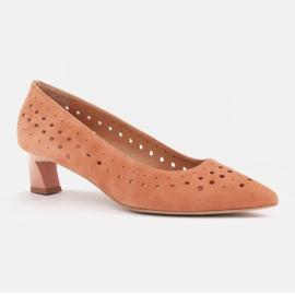 Marco Shoes Czółenka damskie z ciekawą perforacją pomarańczowe 2