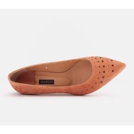 Marco Shoes Czółenka damskie z ciekawą perforacją pomarańczowe 4
