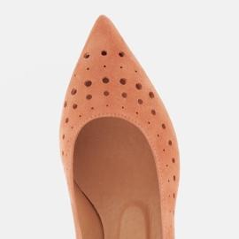 Marco Shoes Czółenka damskie z ciekawą perforacją pomarańczowe 5