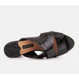 Marco Shoes Skórzane klapki damskie ze skóry w pocięte pasy czarne 7