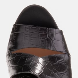 Marco Shoes Skórzane klapki damskie ze skóry w pocięte pasy czarne 9