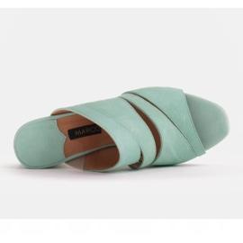 Marco Shoes Klapki damskie ze skóry, pocięte pasy zielone 3