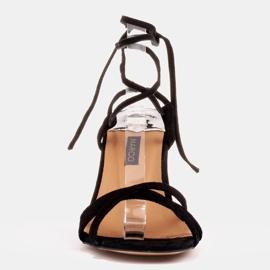 Marco Shoes Eleganckie sandały na szpilce z wiązanym rzemykiem czarne 2