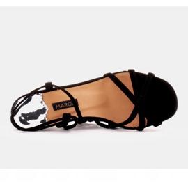 Marco Shoes Eleganckie sandały na szpilce z wiązanym rzemykiem czarne 5