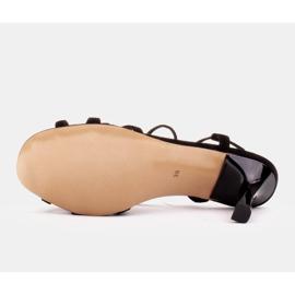 Marco Shoes Eleganckie sandały na szpilce z wiązanym rzemykiem czarne 6