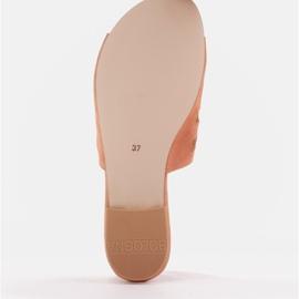 Marco Shoes Eleganckie klapki damskie z perłami i perforacją pomarańczowe 7