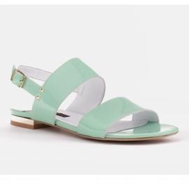 Marco Shoes Płaskie sandały z lakieru i metalicznym obcasem zielone 1