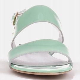 Marco Shoes Płaskie sandały z lakieru i metalicznym obcasem zielone 2
