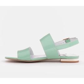 Marco Shoes Płaskie sandały z lakieru i metalicznym obcasem zielone 3