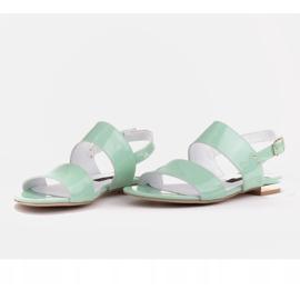 Marco Shoes Płaskie sandały z lakieru i metalicznym obcasem zielone 5