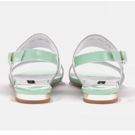 Marco Shoes Płaskie sandały z lakieru i metalicznym obcasem zielone 4