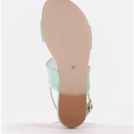 Marco Shoes Płaskie sandały z lakieru i metalicznym obcasem zielone 7