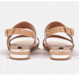 Marco Shoes Płaskie sandały z lakieru i metalicznym obcasem beżowy 4