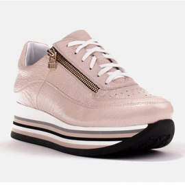 Marco Shoes Sneakersy na grubej podeszwie z naturalnej skóry różowe 1