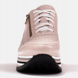 Marco Shoes Sneakersy na grubej podeszwie z naturalnej skóry różowe 3