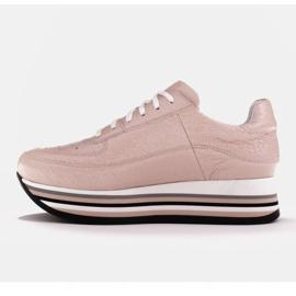Marco Shoes Sneakersy na grubej podeszwie z naturalnej skóry różowe 5