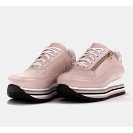 Marco Shoes Sneakersy na grubej podeszwie z naturalnej skóry różowe 4