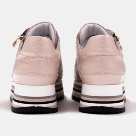 Marco Shoes Sneakersy na grubej podeszwie z naturalnej skóry różowe 7