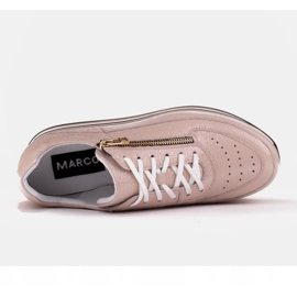 Marco Shoes Sneakersy na grubej podeszwie z naturalnej skóry różowe 6