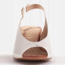 Marco Shoes Białe sandały 1573P ze skóry na stabilnym obcasie 4