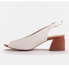 Marco Shoes Białe sandały 1573P ze skóry na stabilnym obcasie 6