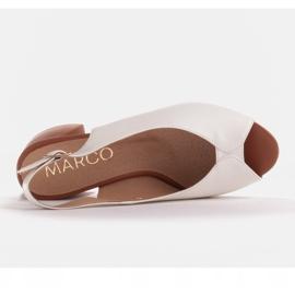 Marco Shoes Białe sandały 1573P ze skóry na stabilnym obcasie 3