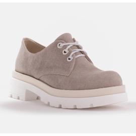 Marco Shoes Półbuty z tkaniny na grubej podeszwie szare 1