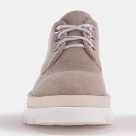 Marco Shoes Półbuty z tkaniny na grubej podeszwie szare 2