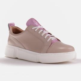 Marco Shoes Beżowe sneakersy z różową wstawką beżowy 1