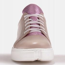 Marco Shoes Beżowe sneakersy z różową wstawką beżowy 2
