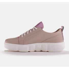 Marco Shoes Beżowe sneakersy z różową wstawką beżowy 3
