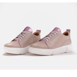 Marco Shoes Beżowe sneakersy z różową wstawką beżowy 4