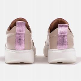 Marco Shoes Beżowe sneakersy z różową wstawką beżowy 5