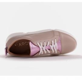 Marco Shoes Beżowe sneakersy z różową wstawką beżowy 7