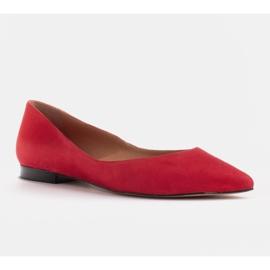 Marco Shoes Baleriny damskie z niskimi bokami czerwone 4