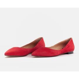 Marco Shoes Baleriny damskie z niskimi bokami czerwone 3