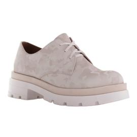 Marco Shoes Półbuty ze skóry moro na grubej podeszwie beżowy 1