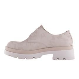 Marco Shoes Półbuty ze skóry moro na grubej podeszwie beżowy 2