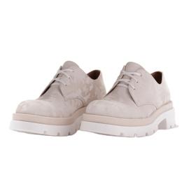 Marco Shoes Półbuty ze skóry moro na grubej podeszwie beżowy 4