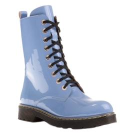 Marco Shoes Wysokie trzewiki, glany wiązane na półprzeźroczystej podeszwie niebieskie 1